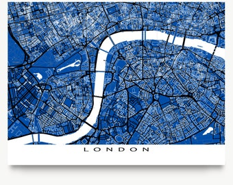 London Art, London Map Print, London UK England, Blueprint City Maps