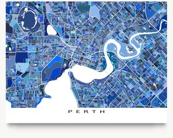 Perth Map Print, Perth Australia, City Map, Blue Street Art