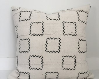 African Mudcloth Pillow Cover, Ethnic, Handwoven, Black and Cream, Various Sizes