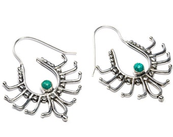 White Brass Turquoise Gemstone Hoop Earrings Tribal Earrings Ethnic Inspired Jewellery Free UK Delivery Gift Boxed WB68