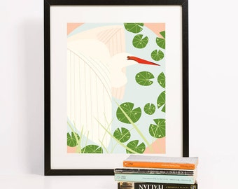 Egret Before Flight Art Print 8x10 | Folk and Fauna Co.