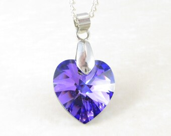 Swarovski Necklace, Swarovski Crystal, Heliotrope Heart, Silver Necklace, Purple