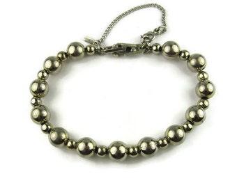 Vintage Monet Silver Tone Bead Bracelet