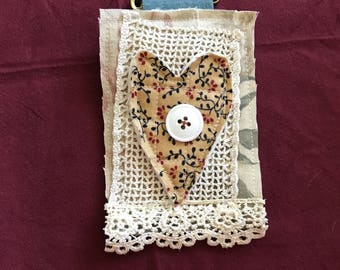 Textile Brooch with Quilted Heart and Vintage Lace