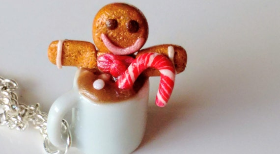 Gingerbread Man in a Cup of Hot Chocolate Necklace - Miniature Food Jewelry - Christmas Jewelry, Kid's Jewelry, Inedible Jewelry, Candy Cane