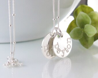 Sterling Silver Name Necklace - Mother's Day Gift for Mom - Name Disc Necklace - Kids Name Necklace - Personalized Jewelry