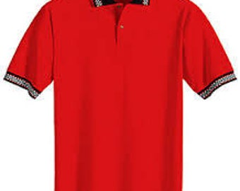 Men's Red Short Sleeve Polo Shirt with racing checked collar and cuffs