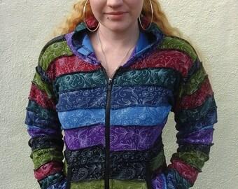 Colourful Paisley Flower Hoodies, Hippy Boho Funky Bohemian Festival, S M L XL XXL - Plus Size