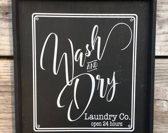 Wash & Dry Wood Sign 12 x 15