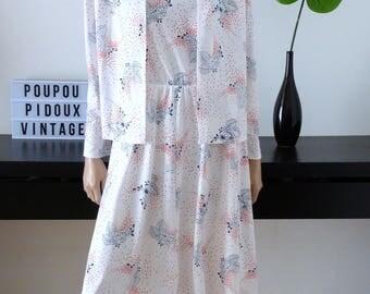 Robe et veste vintage blanche imprimé fleuri bleu/rouge  taille 38 - uk 10 - us 6