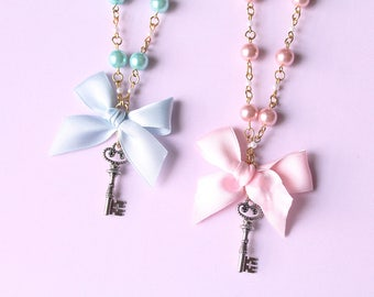 Sweet Lolita Fairy Kei Blue And Pink Key Pendant Necklace- Gold Chain