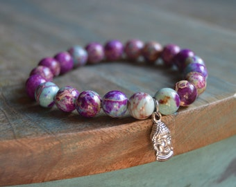 Purple Sea Sediment Jasper Stretch Bracelet with Silver Buddha Charm