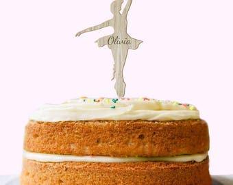 Personalised Birthday Cake Topper, Ballerina Cake Topper, OAK WOOD, Kid's Cake Toppers, Ballet Gift, Girls Birthday Cake Decoration