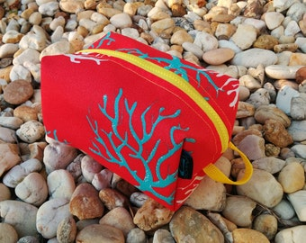 Coral Toiletry Bag -  Travel Bag - Tool Pouch - Utility Bag