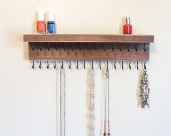 Necklace Shelf - Jewelry Organizer - Necklace Holder - Shabby Brown - 31 Hooks & A Shelf - Many Other Colors Too - Ready To Hang