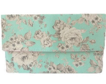 Sea Green Aqua White and Grey Roses Flowers Floral Slimline Foldover Clutch Evening Bag