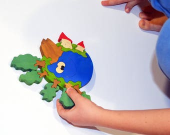 Wooden puzzle  Planet Earth, Holiday Gift, Handmade Eco Friendly Toy,  For Toddlers, Logic toys, Wooden toy, Natural, Organic and Safe toy