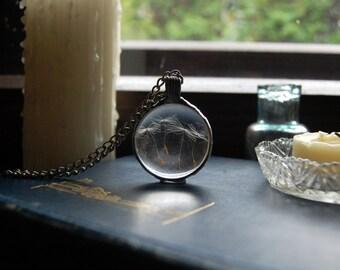 Round DANDELION necklace, wish terrarium, perfect gift, nature lover, make a wish, terrarium jewelry, wish necklace, terrarium necklace
