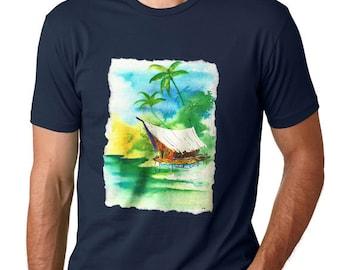 Tropical T-shirt, Tiki Art Print, Surf Shirt, Surfboard, Polynesian Clothing, Island Art, Beach Tshirt, Caribbean, Surfing, Hawaii, Surfer