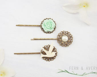 Mint green, ivory bird, ivory pearl hair pins, flower hair pins. Bobby pins, set of 3 hair clips