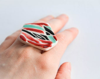 Red Fire GEOMETRIC STATEMENT RING, Ceramic modern jewellery, Geometric jewellery, Christmas gift for colleague, Geometric ring,Red,Turquoise