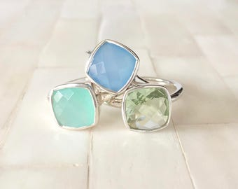 Silver Gemstone Stacking Ring - bezel ring - stacking ring - Gemstone ring