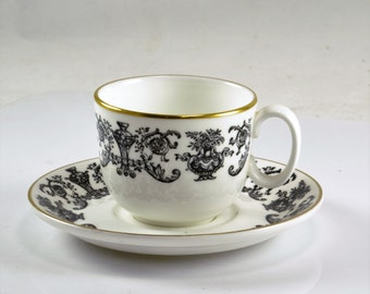 Royal Doulton Demitasse Cup Saucer - Vintage Bone China Espresso Cup - Gold Trim