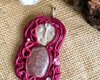 Goddess pendant - Red Adventurine Pendant - Gemstone Jewelry - Boho Jewelry - Clay Pendant