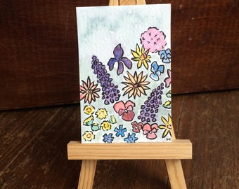 Little Watercolor Painting - Floating Flowers