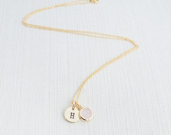 Initial and Pink Gem Necklace, Light Pink Gem Necklace, Initial Necklace, Personalised Jewellery, Bridesmaid Gift