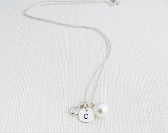 Silver Initial, Gem and pearl Necklace , Personalised Necklace, Initial Necklace, Initial Necklace , Bridesmaid Gift