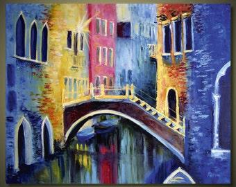 Colorful Romantic Venice, Art Original Heavy Textured Palette Handmade Landscape Oil Canvas, Abstract Impasto Texture Palette Knife Art