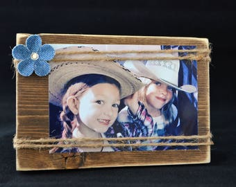 Rustic 4x6 frame with jute twine, stained wood photo holder, ready to ship, 9.00