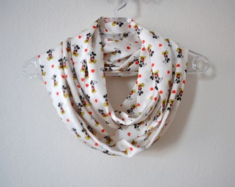 Ecru Satin Scarf with Mickey Mouse Print, Summer Fashion, Women Accessories, Spring, Fall