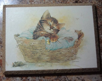 Kitten Napping in a Basket Wood Plaque Giordano Art Ltd 1981 C M Paula Company