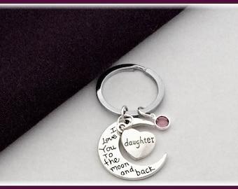 Daughter Keychain, daughter in law keychain, heart Keychain, moon Keychain, personalized Keychain, birthstone Keychain, silver Keychain