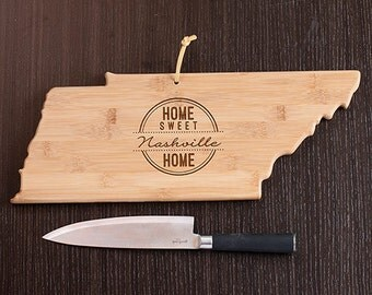 Tennessee State Shaped Cutting Board, Engraved Tennessee Shaped Cutting Board