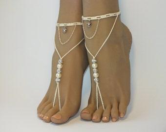 Beaded barefoot sandals/Crochet barefoot sandals/Beach wedding/Bridal Footless shoes/Heart Barefoot Sandals