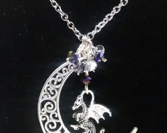 Filigree Crescent Moon with Dragon Necklace