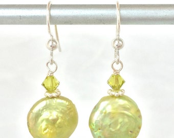 Coin Pearl Earrings - Lime Green Pearls - Green Pearl Earring - Green Pearl Jewelry - Green Wedding - Coin Pearl Jewelry - Green Coin Pearls