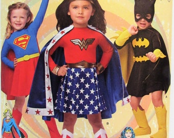 Children's Costumes Girls Simplicity 1035 Super Heroes Wonder Woman Super Girl Bat Girl