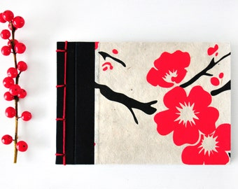 Small Japanese Notebook, hand bound, Lokta paper with flowers - red, cream, black - stab binding - Journal, Diary, Sketchbook, Travel Book