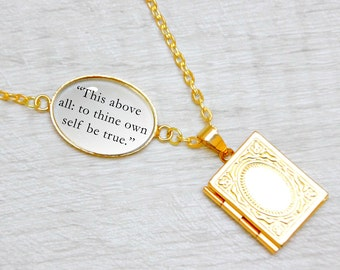 """Hamlet Book Locket Charm by William Shakespeare Quote Jewelry Jewellery Necklace / Bracelet """"This above all to thine own self be true"""""""