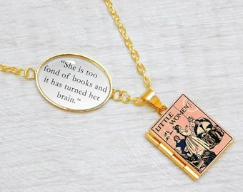 "Little Women Book Locket Charm by Louisa May Alcott Quote Jewelry Jewellery Necklace / Bracelet ""She is too fond of books, turned her brain"""