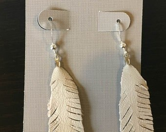Leather Feather Earrings with Silver Hooks