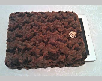 Chenille 10 Inch Tablet iPad Cover with Vintage Button, Hand Crocheted Tablet Sleeve, Brown, #WY-B15-2, Washable, Free Domestic Shipping