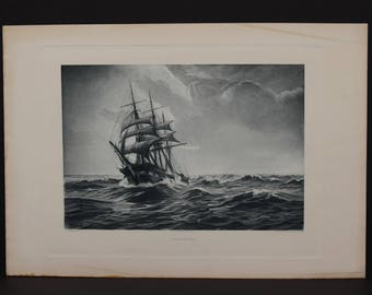 Original 1893 photogravure. 'A Gale at Sea' by L.V. Arnesen, Pinx. Gebbie &  Co.