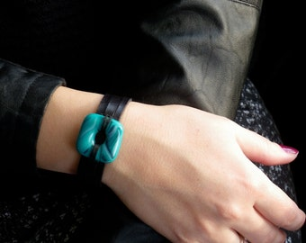 turquoise fused glass and black leather cuff bracelet , women jewelry bracelet leather fused glass cuff / fused glass bracelet green
