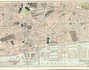 1917 map of central liverpool england antique map  vintage wall decor.