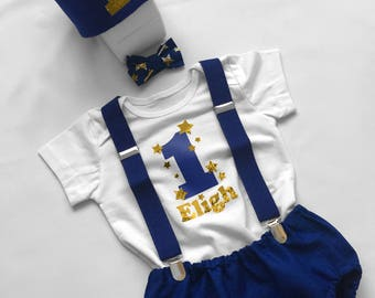 1st Birthday Outfit, Cake Smash Outfit Boy, Baby Boy Blue Cake Smash Outfit, Blue and Gold Star, Cake Smash Prop, Photoshoot Prop
